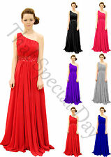 SILVER CHIFFON BRIDESMAID DRESS 1 SHOULDER A LINE SIZE 6-24 WITH SEQUINS
