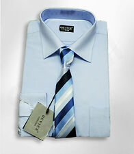 Boys Blue Formal Device Shirt And Tie Set Pageboy Wedding Prom Smart Suit Shirts