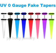 PAIR 0G - FAKE TAPER UV Acrylic O-ring, 16G - 1.2 mm Steel Shafts (Choose Color)