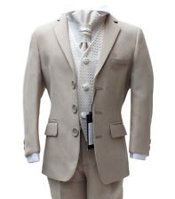 Boys Formal Wear 5 PC Beige Ivory Suits Pageboy Wedding Party Prom Kids Suit