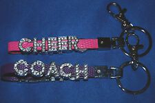 CHEER COACH Rhinestone Slide Letter Keychain Lanyard w/Clasp- choose color