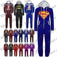 New Womens Mens Long Sleeves Superman Batman One Playsuit Piece Jumpsuit Onesie