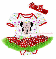 Pink Minnie White Rainbow Dot Bodysuit Red White Dot Skirt Baby Dress NB-18Month