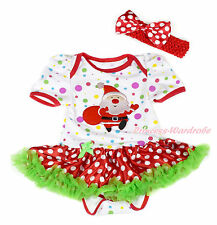 XMAS Santa Claus White Rainbow Dot Bodysuit Red White Dot Baby Dress NB-18Month