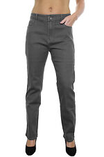 NEW (1386) Stretch Denim Jeans Mid Rise Grey Wash With Embroidery Detail 8-18