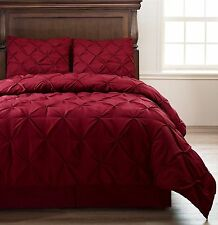 Emerson 4pc Pinched Pleat Comforter Set Burgundy - Full, Queen, King, Cal-King