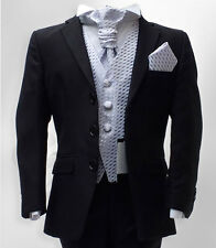 BOYS BLACK & LILAC WEDDING SUIT PAGEBOY PROM FORMAL CRAVAT SUIT AGE 1 TO 15 YRS