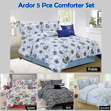 FABLE SPLASH KALI LANCASTER - 5 Pce Comforter+2 P/cases+2 Cushions - QUEEN KING