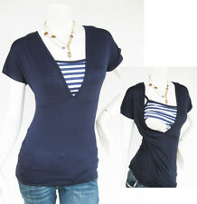 HELENA Breastfeeding Top Nursing Shirt, Tshirt, Tops, Maternity Clothes NEW NAVY