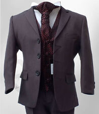 Boys Formal 5 Piece Grey & Burgundy Wine Suit Pageboy Wedding Prom Dinner Suit