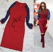 Women's Victoria Beckham Style Casual Blue Red One-piece 3/4 sleeve Dress NEW