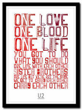 U2 - one - song lyric poster typography art print - 4 sizes