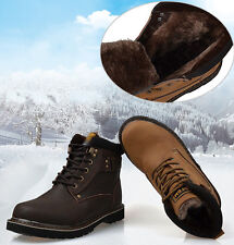 Mens winter Ankle Boots Warm Fur snow hiking casual Military Shoes black brown