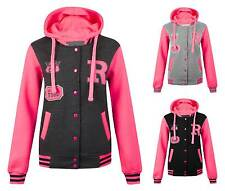 New Womens Ladies R Varsity Contrast Sleeve Baseball Bomber Hoodie Hooded Jacket
