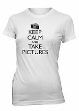 Junior's Keep Calm and Take Pictures Funny T-Shirt Photography Camera Tee