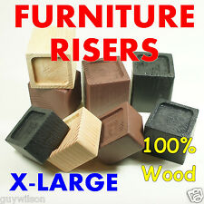 FURNITURE RISERS -- X-LARGE, Colors and Sizes, Raise Lift Bed, Heavy Duty Wood