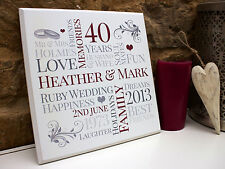 Simple Personalised ANNIVERSARY Wedding Plaque Sign Print Unique Gift Idea