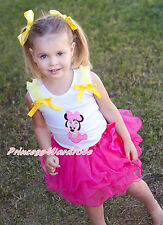 Minnie Print Yellow Ruffle Bow White Top Hot Pink Petal Girl Skirt Set NB-8Year