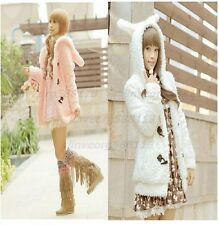 Hot Bunny Women Warm Hooded Fluffy Fleece Faux Fur Coat horn button Jacket KJH23