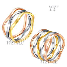 Fashion TTstyle Tri-Tone Wave Stainless Steel Party Dress Band Ring Choose Style