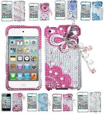 for iPod Touch 4th Gen 3D Premium Diamond Bling Rhinestone Pearl Hard Case Cover