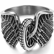 Unique Stainless Steel Mens Boys Black Silver Biker Wings Motorcycle Wheel Ring