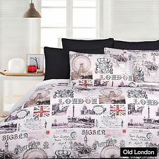 OLD LONDON Big Ben Union Jack Quilt Cover Set - SINGLE DOUBLE QUEEN KING
