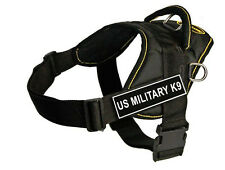 DT Fun Dog Harness in Yellow Trim with Velcro Patch US MILITARY K9