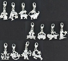 Wholesale Lots Mixed Clear Rhinestone Zodiac Clip On Charms Fit Chain Bracelet