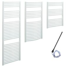 SOLAIRE White Electric Heated Towel Rails PREFILLED Towel Warmer Bathroom Heater