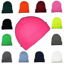 Beanie Hats Mens Ladies Wooly Winter Caps Cotton Ski Knitted Turn Up Neon Unisex