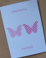Personalised Girls Butterfly Thank You Cards (BF5) Birthday/Christening/New Baby