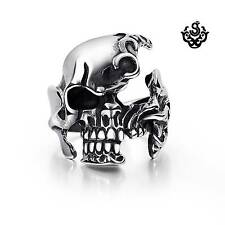 Silver skulls ring half head solid stainless steel band
