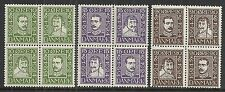 Denmark 1924 YV 153-164 in Blocs of 4  MNH/MLH  F/VF