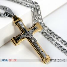 Men's Fashion Stainless Steel Golden Jesus Large Cross w/ Necklace Punk Cool 11G