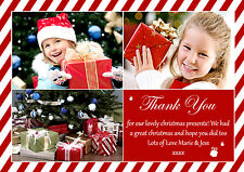 10 Personalised Christmas Greeting Thank You Cards Photos Sugar Cane Stripes Red
