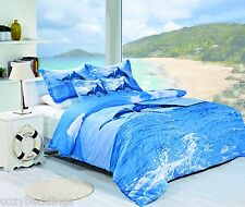 Dolphin Print 100-Percent Cotton 5-Piece Duvet Cover Set Full, Queen, King Size