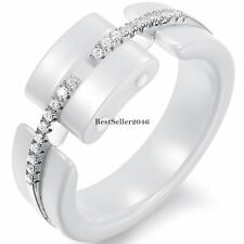 6mm White Ceramic Silver Eternity Shiny CZ Womens Ladies Promise Engagement Ring