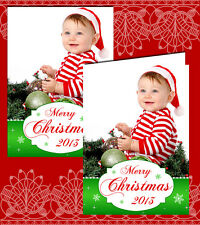 10 Personalised Christmas Greeting Cards Thank You Photo Green Snowflakes  Red