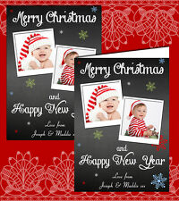 10 Personalised Christmas Greeting Cards Thank You Photos Chalkboard Twins