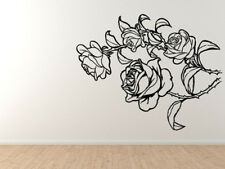 Roses Rosa Floral Print Thorn Vine Botany Prickles Flowers Wall Art Decor Decal