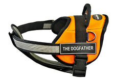 DT Works Orange Chest Support Dog Harness Velcro Fun Patch THE DOGFATHER