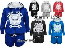New Womens  Hooded Fleece All in One Piece Playsuit Jumpsuit Shorts Onesie 8-14