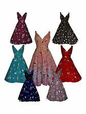 BNWT 1940s 1950s  VINTAGE STYLE SILKY BIRD PRINT PARTY COCKTAIL TEA DRESS  10-20