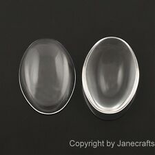 50-500x 14-40mm Clear Oval Glass Dome Cabochons Flatback Fit Cameo Settings Lot