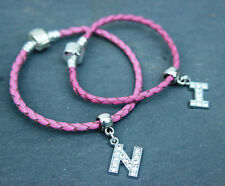 Initial Letter Charm on a Pink Leather Snake Charm Bead Bracelet