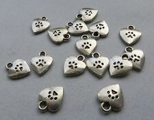 PAW PRINT HEART Mini Charms Double Sided Paws Hearts Dog Cat Pet Charm 9.5x11.75