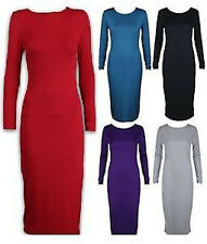 Celebrity style Womens Stretchy Jersey Long Sleeve Midi Bodycon Dress 8-14