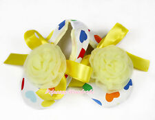 Toddler Newborn Baby Yellow Rosettes Rainbow Hearts Ribbon Crib Shoes NB-18Month