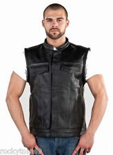 SOA Mens Anarchy Black Leather Club Vest New Sizes 40 to 64* Gun Pocket